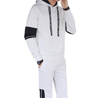 Men's Sport Suit Gym Fitness Tracksuit Hoodies + Pants Patchwork Letter Drawstring Elastic Jogging Running Sets Male