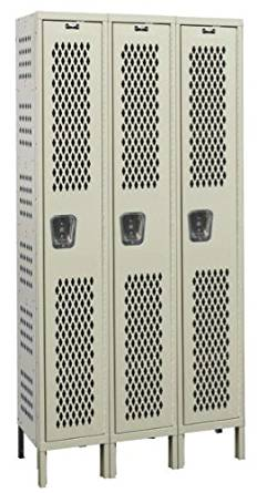 "Hallowell U3288-1HDV-PT Heavy-Duty Ventilated KD Metal Locker, Unassembled, 3-Wide Grouping, 1 Tier, 72"" Opening Height, 78"" Frame Height, 12"" Width x 18"" Depth, Parchment"