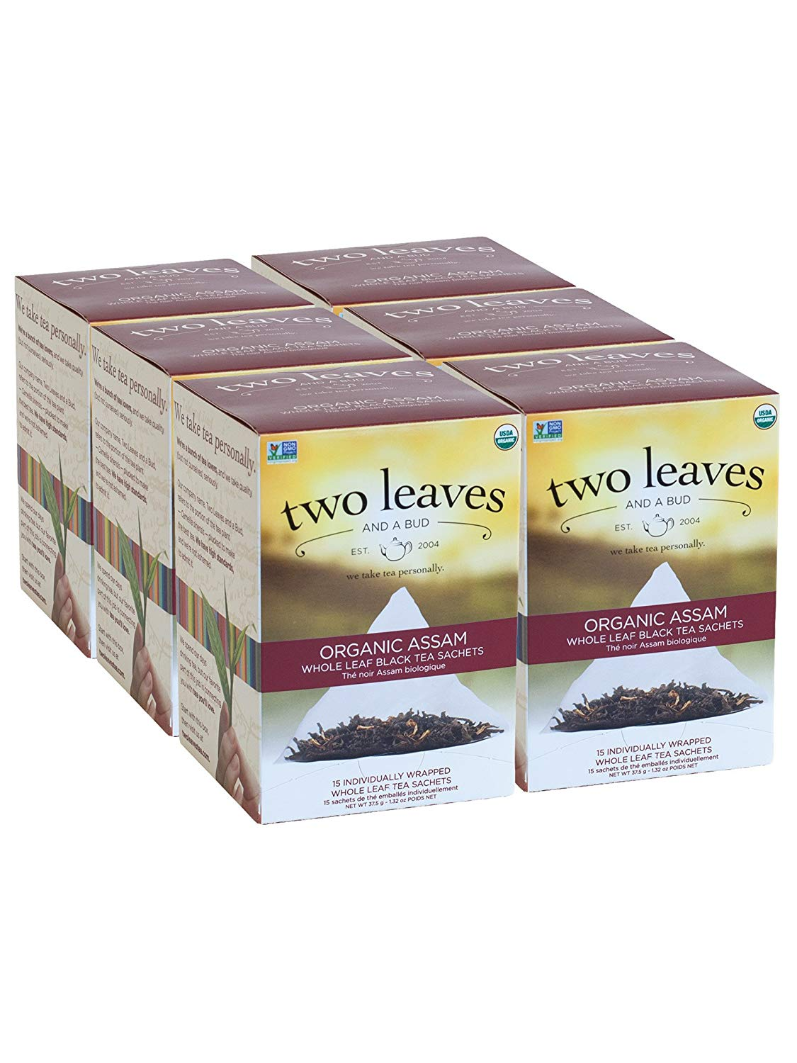 Two Leaves and a Bud Organic Assam Black Tea Bags, 15 Count (Pack of 6) Organic Whole Leaf Full Caffeine Black Tea in Pyramid Sachet Bags, Delicious Hot or Iced with Milk and Sugar or Honey or Plain