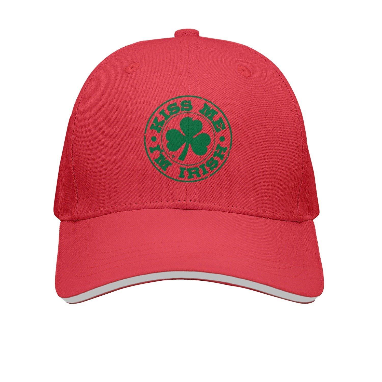 9d72972a254 Get Quotations · SJSNBZ Kiss Me I m Irish Unisex Adult Mens Printed  Snapback Caps Womens Snapback Caps