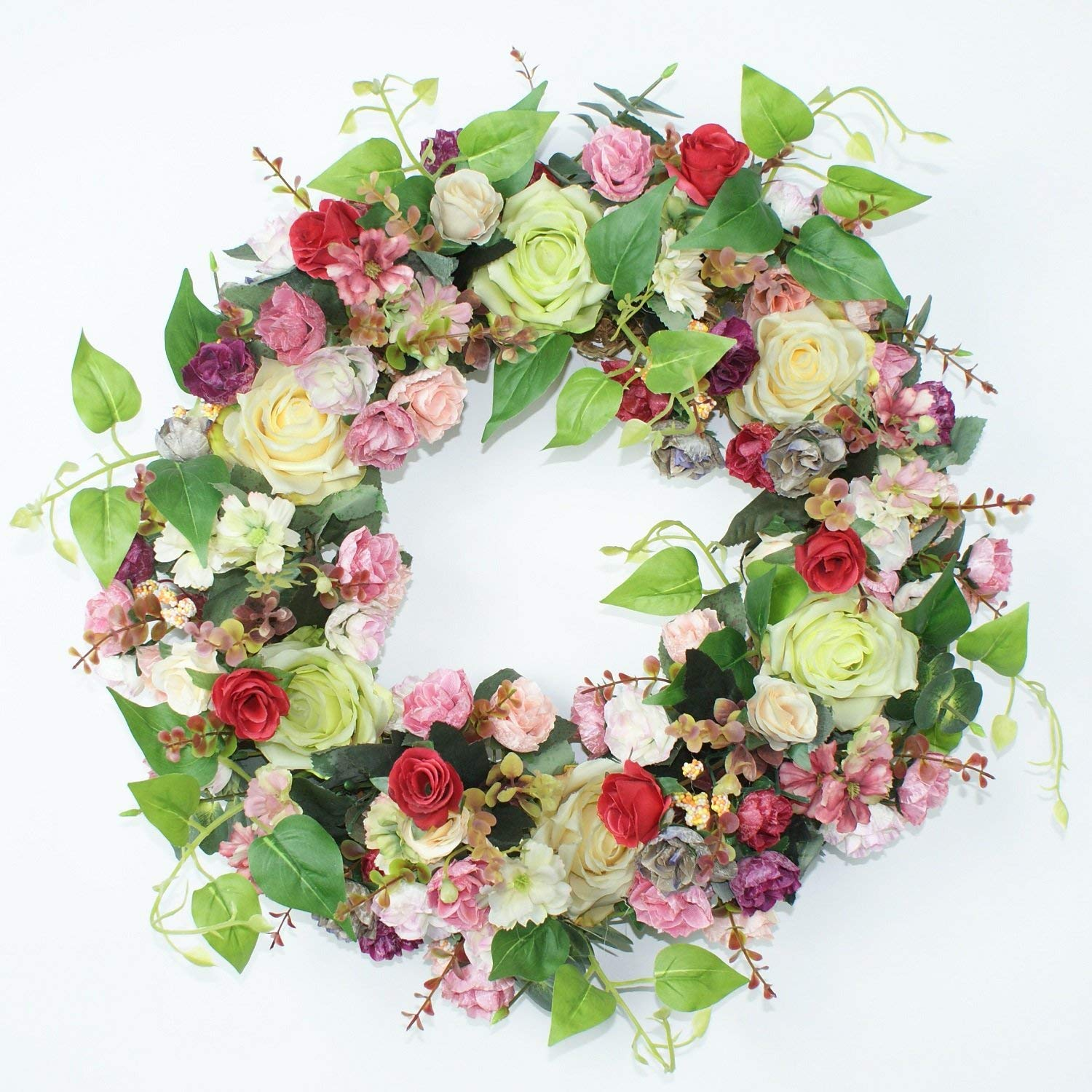 Emlyn Rose and Little Daisy Silk Spring Door Wreath 17 Inch -Handcrafted on a Grapevine Base- Display in Spring, Easter, and Summer