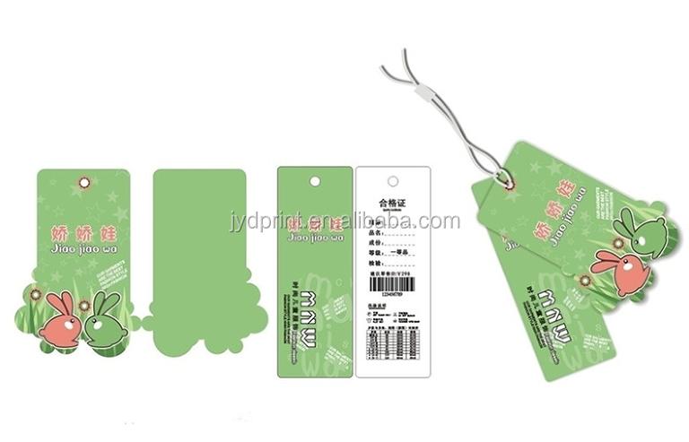 Angepasst verschiedene farben kunststoff garment label hang tag mit string für kleidung