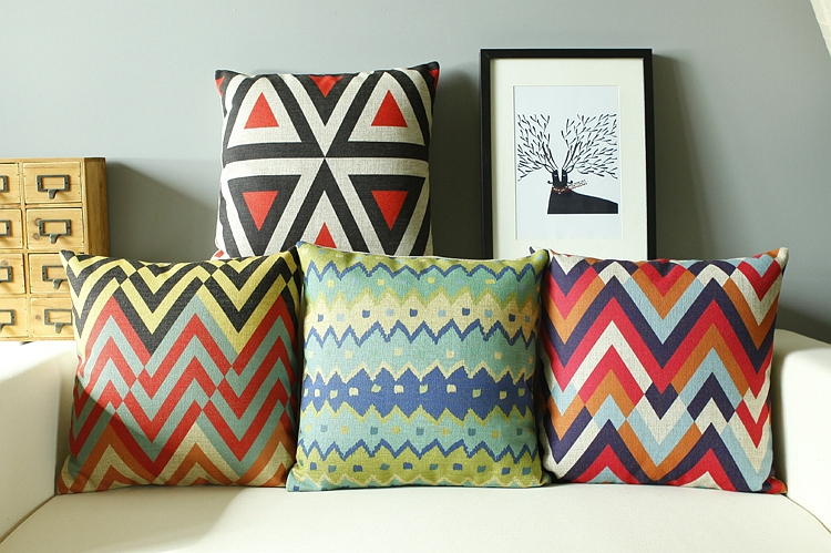 Customized 18in*18in Abstract Geometry Decorative Pillows Creative Stripe Cushions Home Decor Bohemian Colorful Cushion Cover