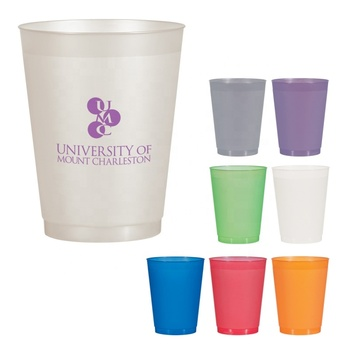 OEM own logo printing BPA free promotion gift cheap price 16 oz snack juice drinking mug reusable simple plastic party cup