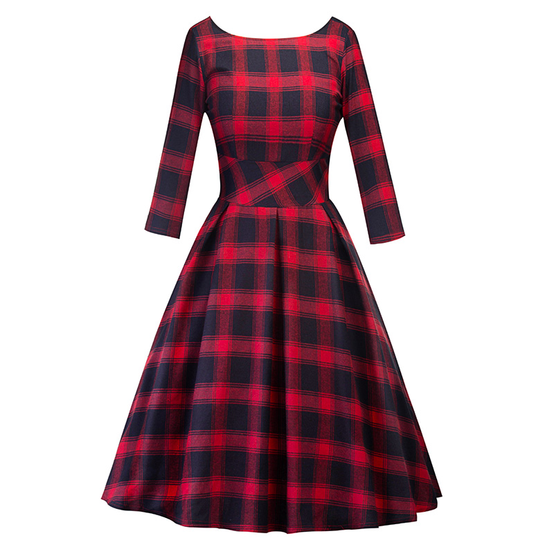 Women Casual Round-Neck Red Black Plaid Long Sleeve Dress
