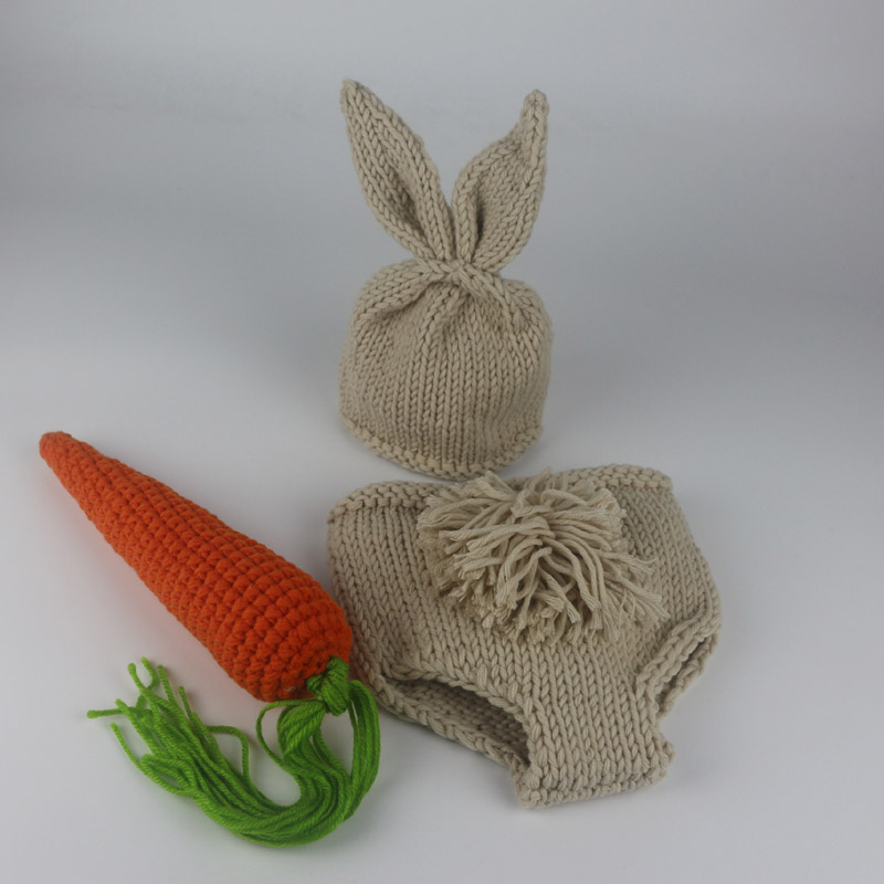 50597b6c5 Newborn Photography Props Bunny Crochet Knitting Costume Set Rabbit Hats  and Diaper Beanies and Pants Newborn Outfits Accessory