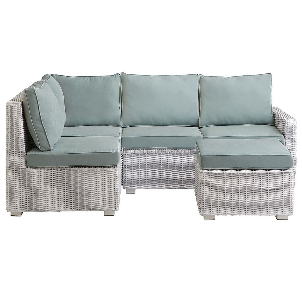Small Space Cheap White Rattan Outdoor Corner Sofa With