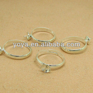 JFS1013 Silver plated blank ring base setting for half drilled cabochon,.ring finding