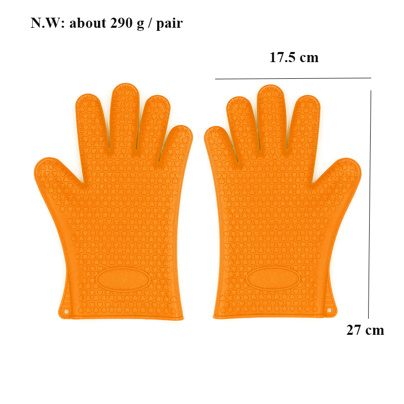 Waterproof Heated Resistant  Non-Stick Kitchen Funny BBQ Silicone Oven Gloves  Mitts  Guantes aislantes Grilling Cooking Gloves