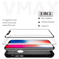 Vmax screen protector for iPhone X , 9H Anti-Scratch mobile phone/cell phone 3D tempered glass screen protector for iPhone X 10