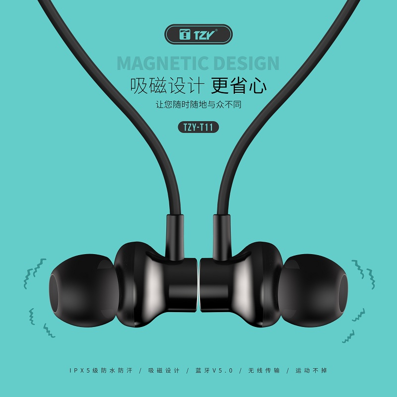Factory bluetooth earphone Built-in Mic Lightweight Neckband Sport earphone