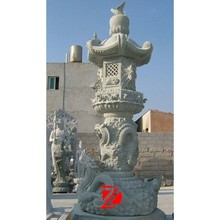 hand carved stone lantern decoration with dragon