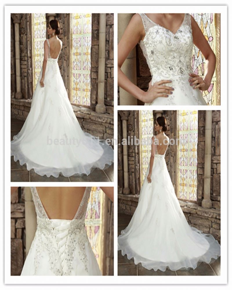 2018 Ball Gown V-neck Court Train Lace Tulle Wedding Dress with Beading Appliques h5