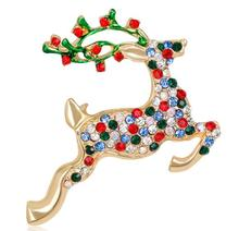 Colorful rhinestone oil gold plated deer Christmas spring brooch for Women men Children