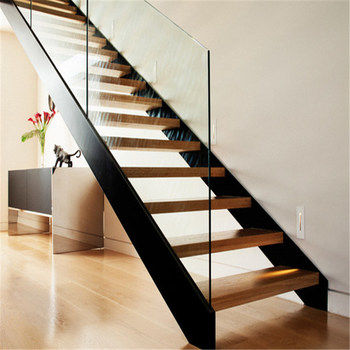 Wood Treadboard With Tempered Glass Closed String Indoor Stair Step Tread  Construction Real Estate Architect Contractor