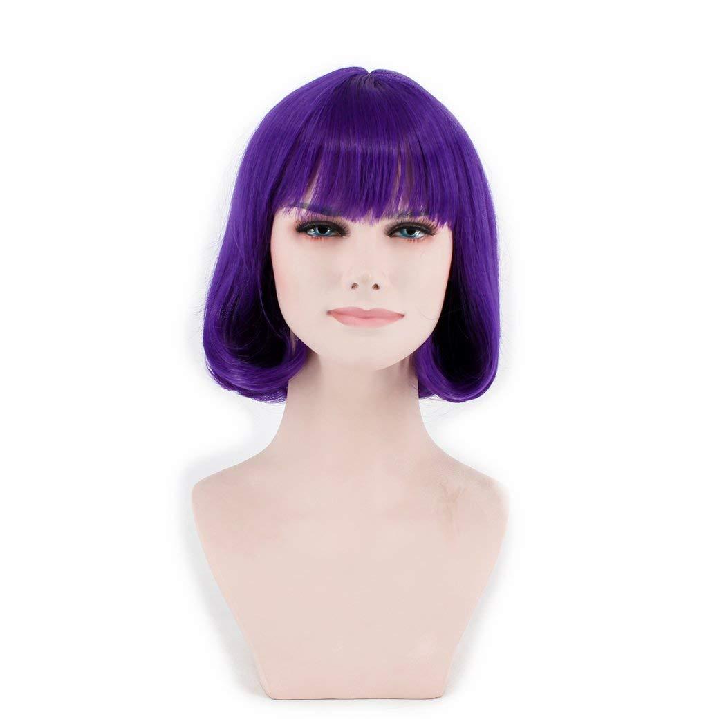 OUO HAIR Wig Fashion Wig Fiber Wig Short Bob Head Wig Purple High temperature Wig (Purple)