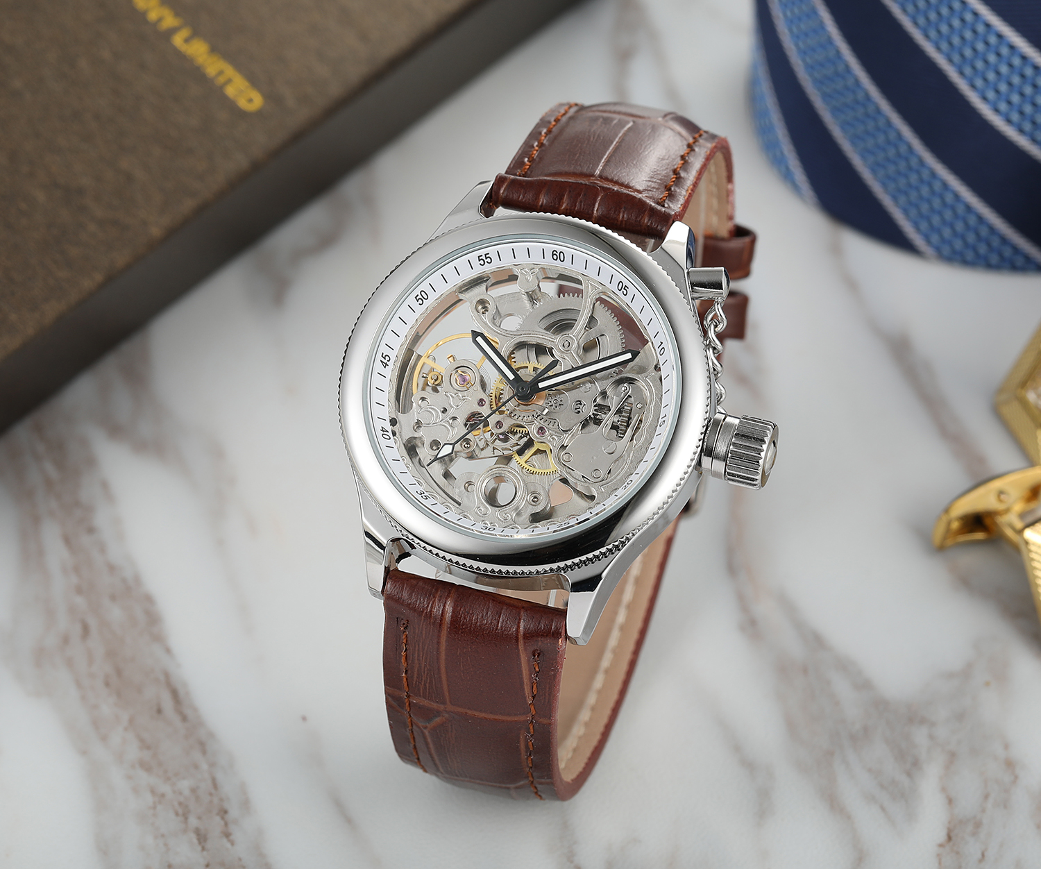 Customized Gold Silver Color Forsining Automatic Mens Wristwatch skeleton with Watch Box