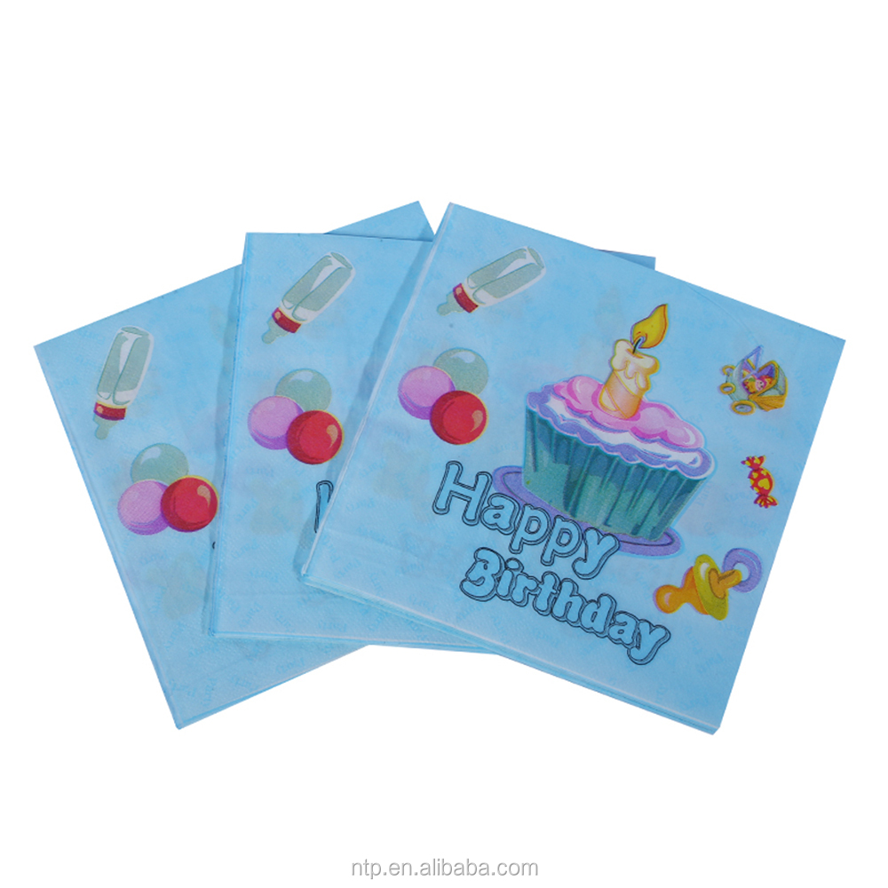 33*33cm New arrived happy birthday printed decoration paper napkins manufacturers for party