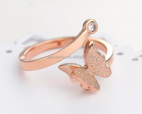 Hotting sale 316L stainless steel ring,gold/rose/white gold stainless steel ring butterfly ring jewelry