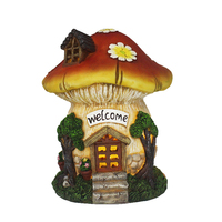 Resin Mushroom House, Garden Decoration Lighted Fairy Mushroom House with Welcome Sign