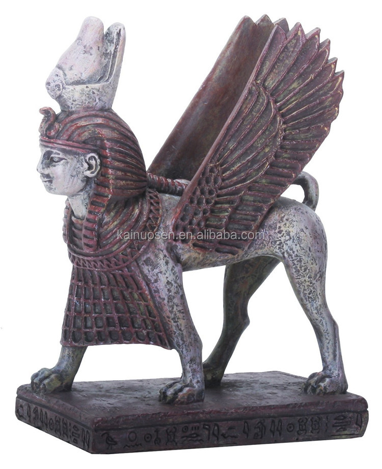 Handmade Patined Poly Resin Egyptian Sphinx Statue Figurinefor Sale