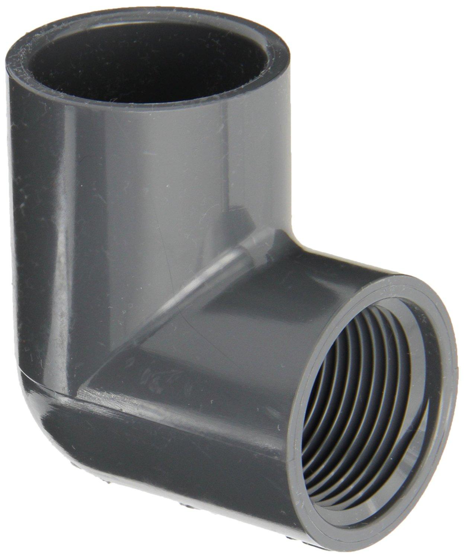 Black 90 Degree Elbow 1 Socket x 1 NPT Female Schedule 40 Spears 407-B Series PVC Pipe Fitting