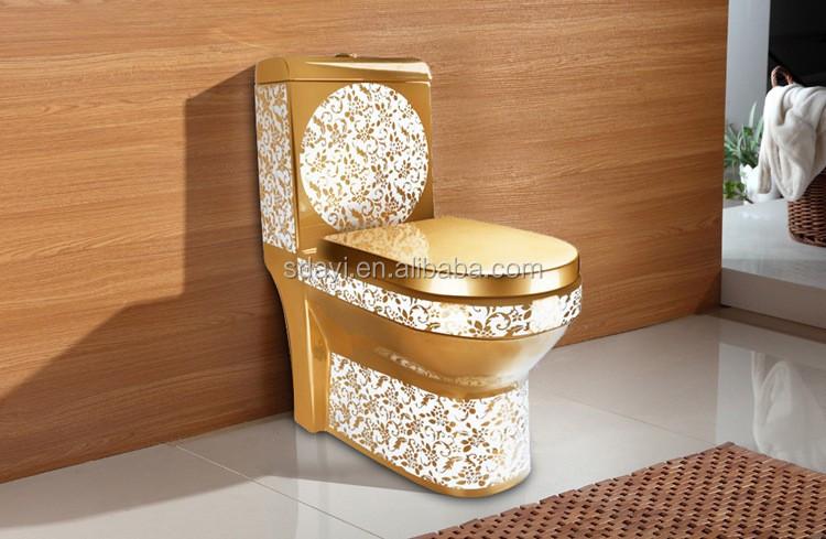 Ceramic Sanitary Ware Gold Colored Wc Portable Toilet Bowl
