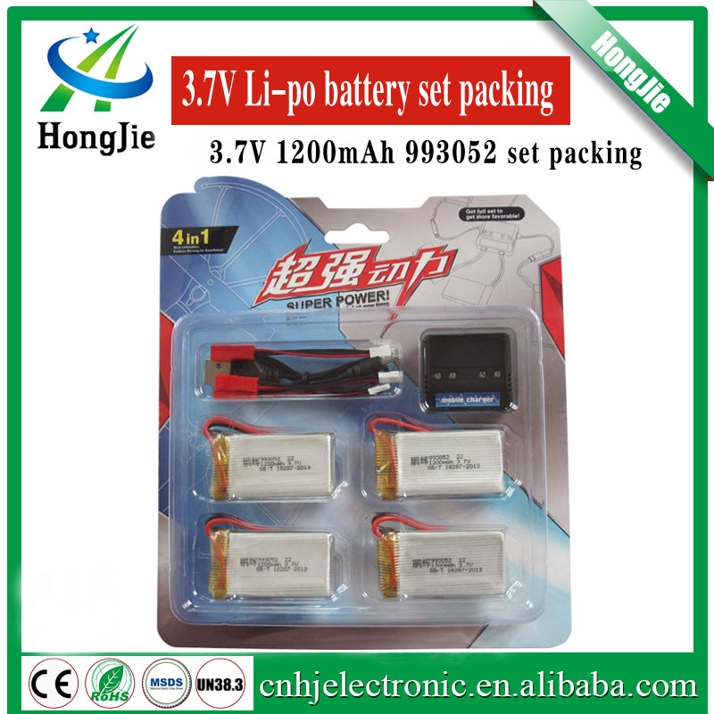 3.7v 1200mah 25C 993052 for MJX T64 T04 T05 F28 F29 Huanqi 859B li-po batteries with 4 in 1 multi Charger set