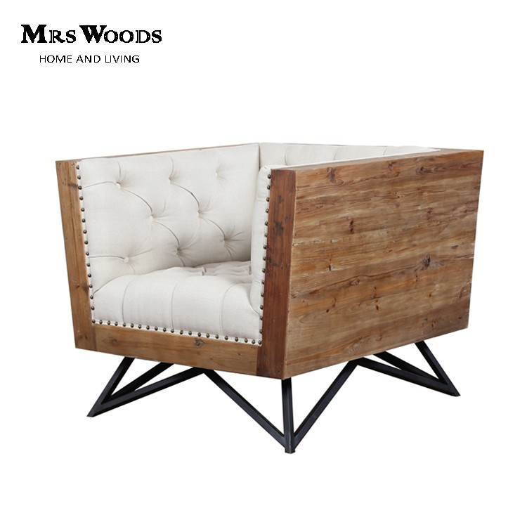 Astounding Industrial Reclaimed Wood Frame Tufted Living Room Accent Chair View Accent Chair Mrs Woods Product Details From Ningbo Mrs Woods Home Furnishings Gmtry Best Dining Table And Chair Ideas Images Gmtryco