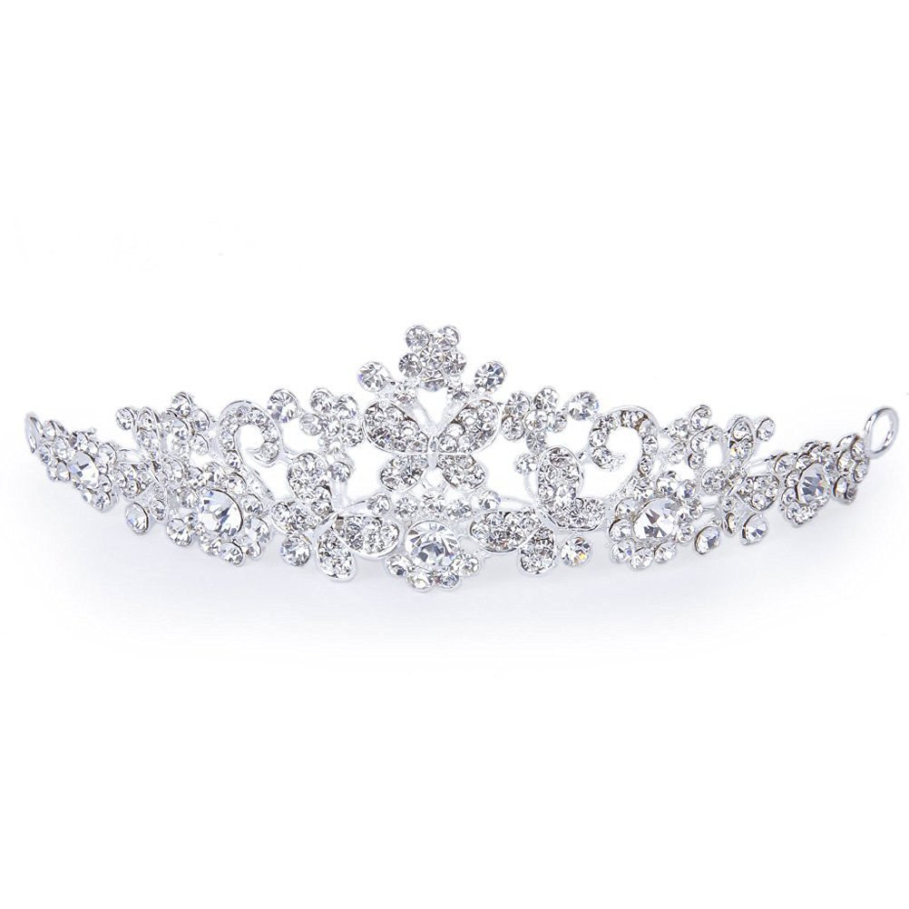 Tinsky Delicate Wedding Bridal Prom Shining Crystal Rhinestones Butterfly Love Flower Crown Headband Veil Tiara (Silver)