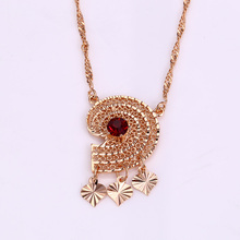 41922 Indian style fashion women jewelry ruby prong set heliciform pendant necklace