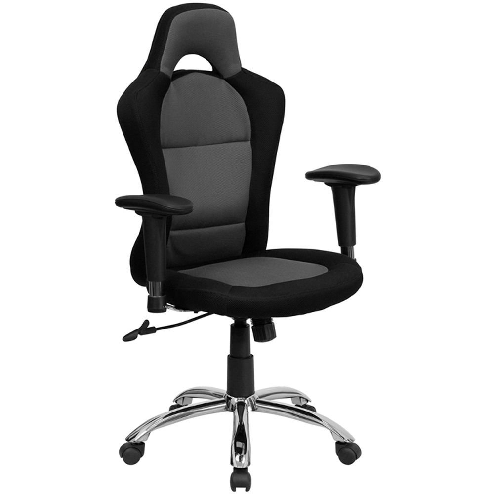 "Roosevelt Mesh Fabric Computer Chair with Headrest Dimensions: 28.75""W x 24""D x 45.25-48.75""H Seat Dimensions: 20.50""Wx18.25""D Black & Grey Mesh Fabric Seat & Back/Chrome Metal Base"