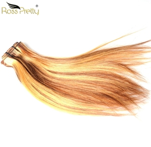 Ross Pretty 8 Inch Ombre Color Extension Clip Human Hair Weave Straight Blonde Brazilian Bundles