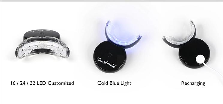 وافق CE الأحمر والأزرق مصباح ليد لاسلكي قابلة للشحن طقم تبيض الأسنان شعار مخصص