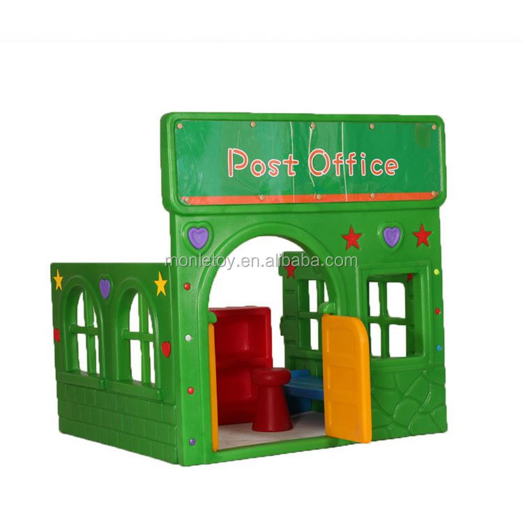Hot sale engineering plastics playhouse selling cheap role play post office playhouses for children