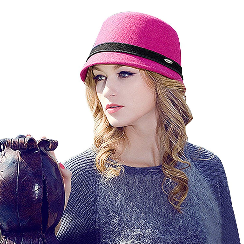 32471b4e Get Quotations · LAI MENG FIVE CATS Womens 100% Wool Bowler Hat Fedora  Derby Hats Vintage Cloche Hats