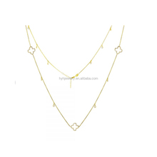 Europe and America trend style cubic zirconia four clover jewelry women gold color layer neckalce nigerian
