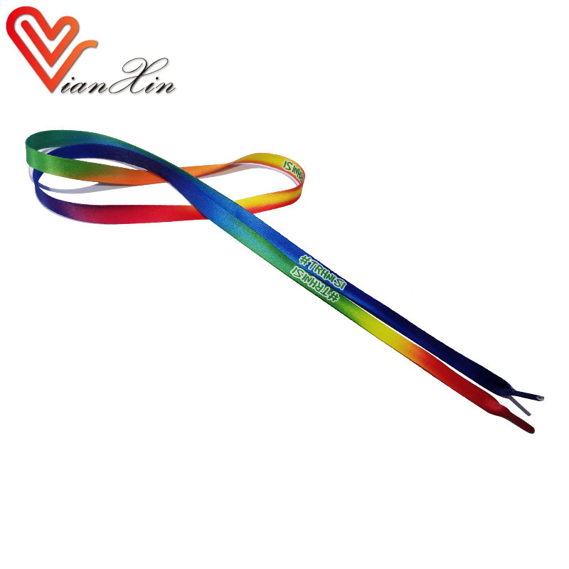 Custom Flat Heat Transfer Printed Polyester Shoelaces Rainbow Colorful Low MOQ Guangdong Factory