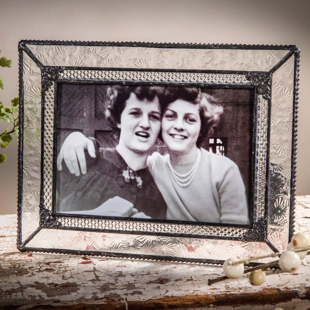 J Devlin Glass Art Pic 380 Series Vintage Styled Stained Glass Photo Frame Clear Textured Glasses Displays Photo Horizontally or Vertically in 4x4, 4x6, 5x7, or 8x10 Sizes (4x6)