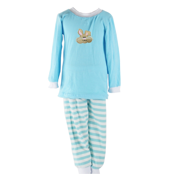 Wholesale 2016 infant 2pcs boys and girls brown bunny embroidery kids easter pajamas sets spring children boutique clothing sets фото