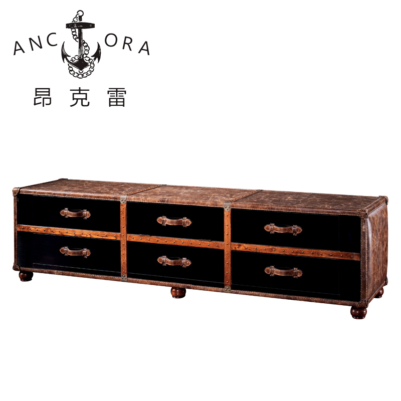 American industrial style leather trunk coffee table leather cabinet L823
