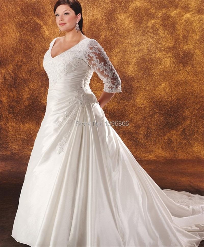 Plus Size Vintage Wedding Dresses With Sleeve 2015