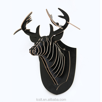 Wood Carved Deer Head Wall Home Decoration