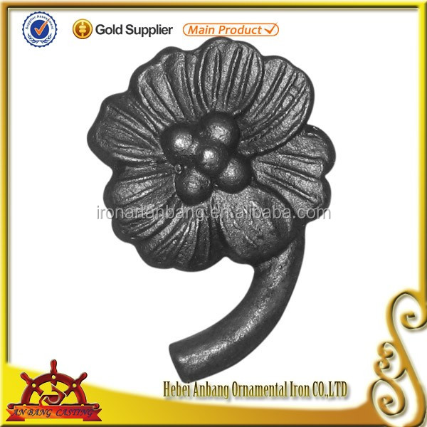 cheap decorative cast iron flower components wrought iron leaves and flowers wholesale