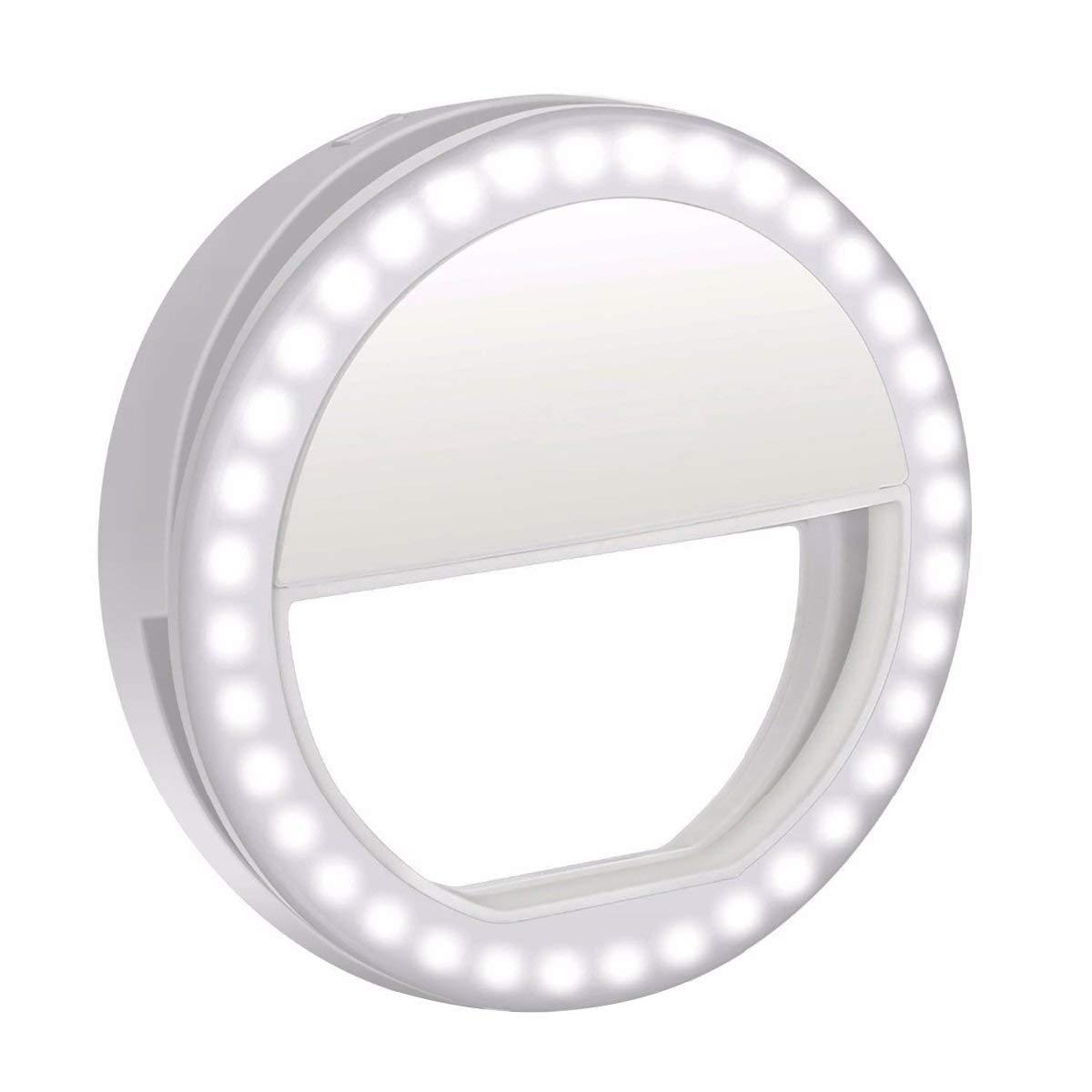 ZealBea Focus Clip on Selfie Ring Light Portable Selfie Lamp, Selfie LED Camera Lamp[36 LED] for Smartphone iPhone Samsung Galaxy(White)