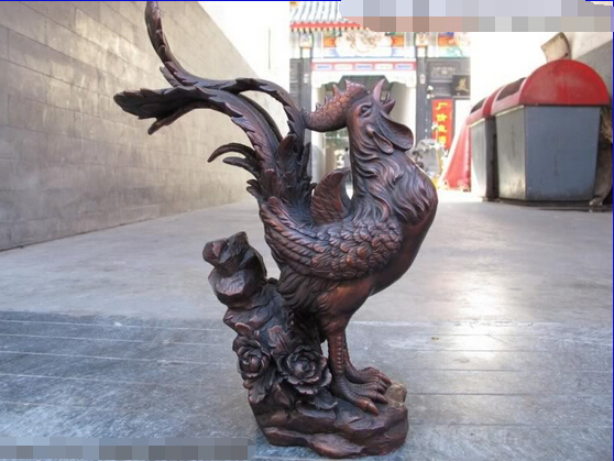 song voge gem S0303 Chinese Red Bronze Copper Feng Shui Lucky Auspicious chanticleer <font><b>rooster</b></font> Statue