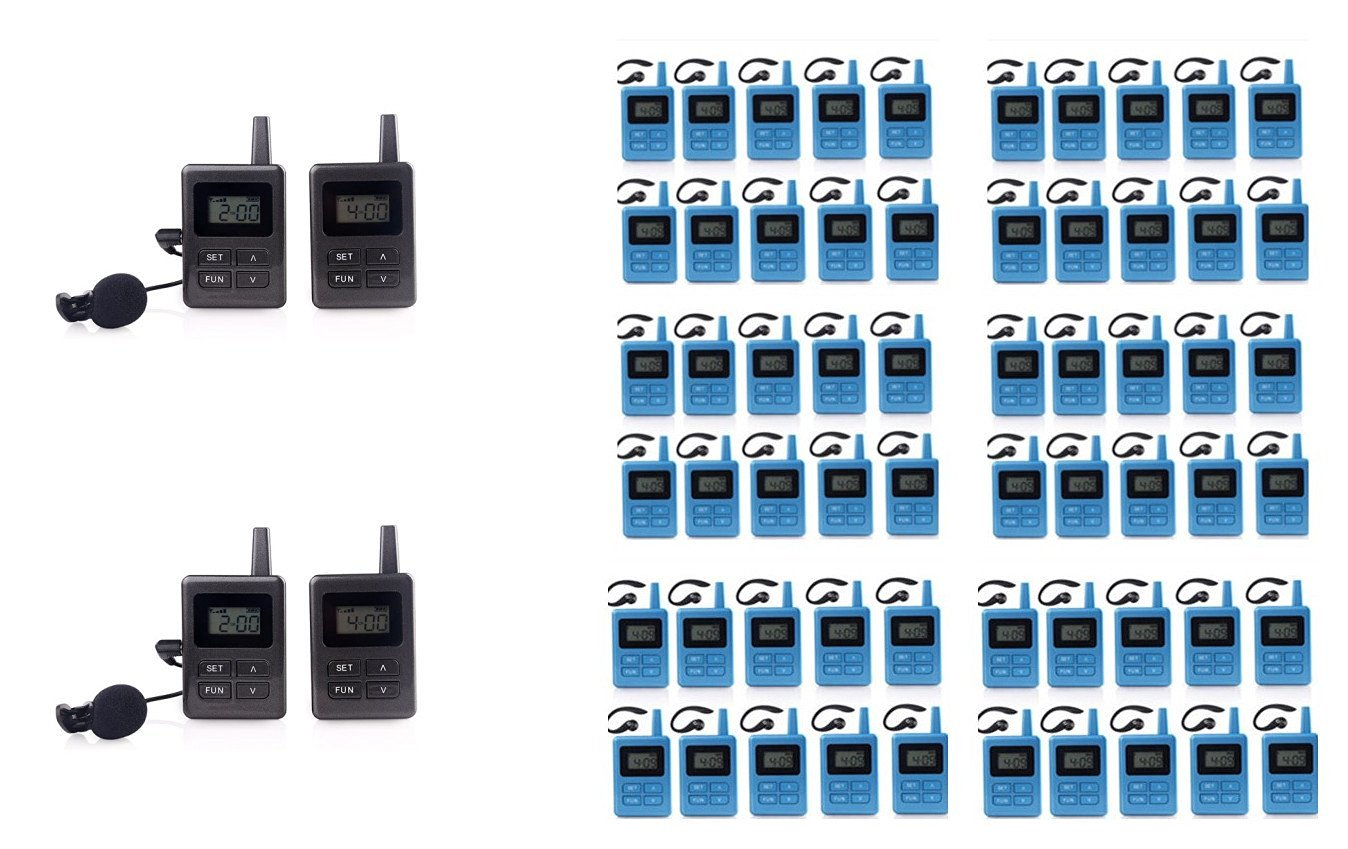 2.4Ghz Wireless Tour Guide System for Tour Guiding,Simultaneous Translation Conference,Church Assistive Listening System Package (4 pc transmitter+60 pc receivers+6pc Multi chargers+2pc device Bags)