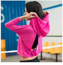 Women Hooded Running Shirts Jersey Breathable Sportswear Fitness Yoga Top Workout Sports T Shirt