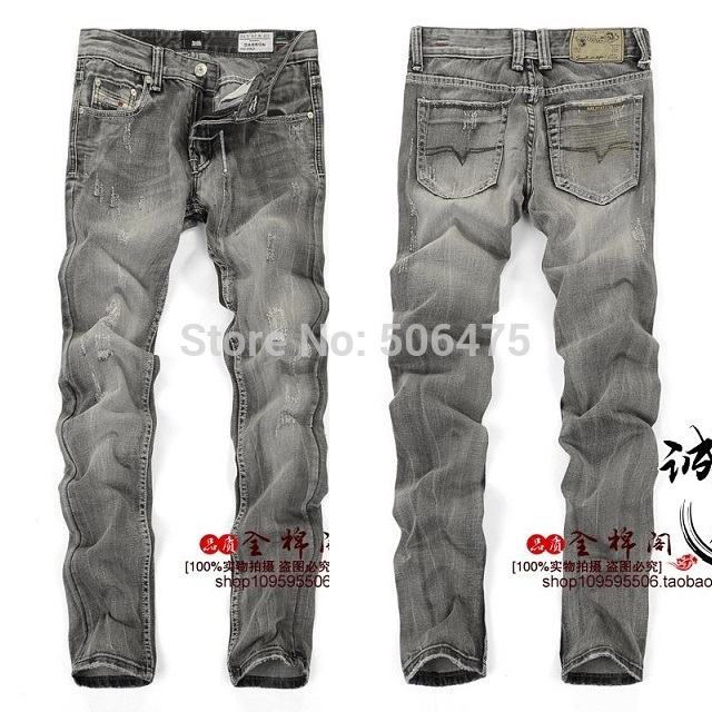 90f6b279222 Get Quotations · 2014 winter New Straight Men s Jeans Washed Slim Italy D  Brands faded black grey jeans Casual