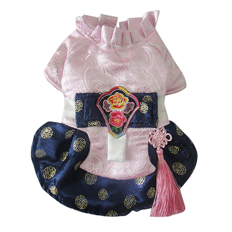 23aeb7388b4de Buy 2015 New Pet Clothes Traditional Pink Print Hanbok Dress Style ...